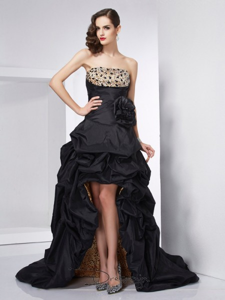 A-Line/Princess Strapless Beading Sleeveless Taffeta High Low Dresses