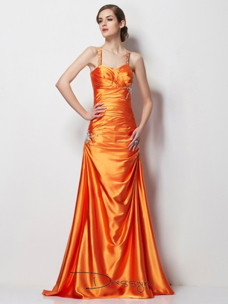 A-Line/Princess Spaghetti Straps Beading Sleeveless Elastic Woven Satin Long Dresses