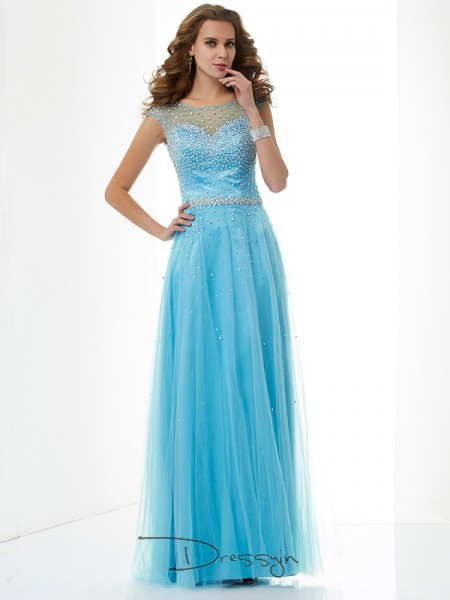 Sheath/Column High Neck Beading Sleeveless Net Long Dresses