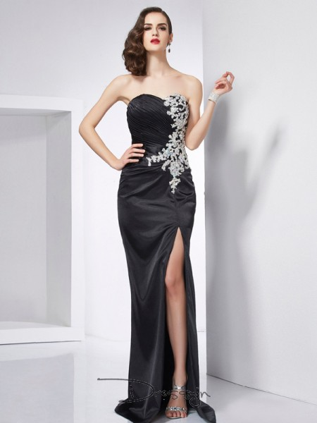 Trumpet/Mermaid Sweetheart Beading Sleeveless Elastic Woven Satin Long Dresses