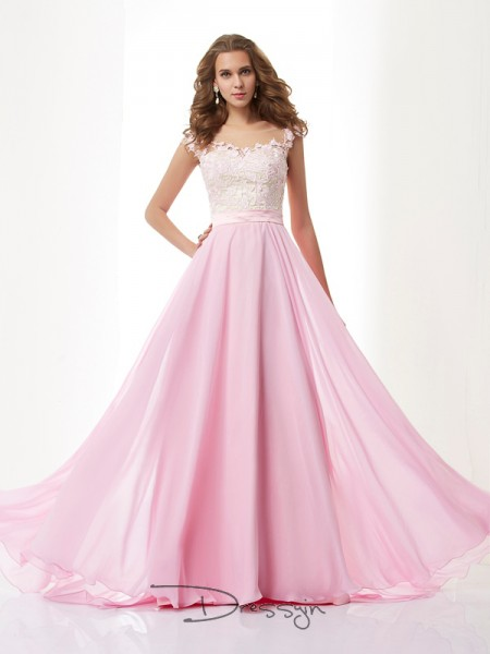 A-Line/Princess Straps Beading Applique Sleeveless Chiffon Long Dresses