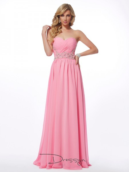 A-Line/Princess Sweetheart Applique Sleeveless Chiffon Long Dresses