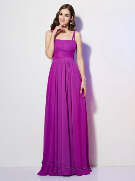 Sheath/Column Spaghetti Straps Pleats Sleeveless Chiffon Long Dresses