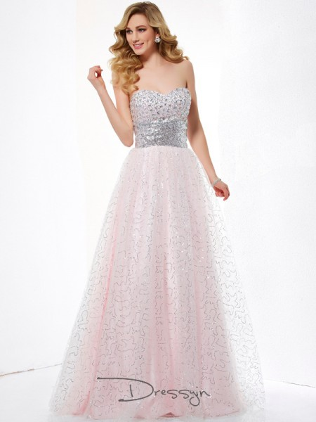 Ball Gown Sweetheart Sleeveless Net Satin Long Dresses