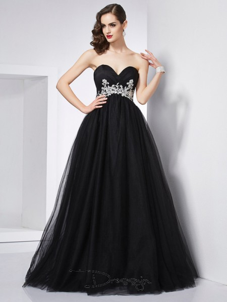 Ball Gown Sweetheart Applique Sleeveless Net Long Dresses