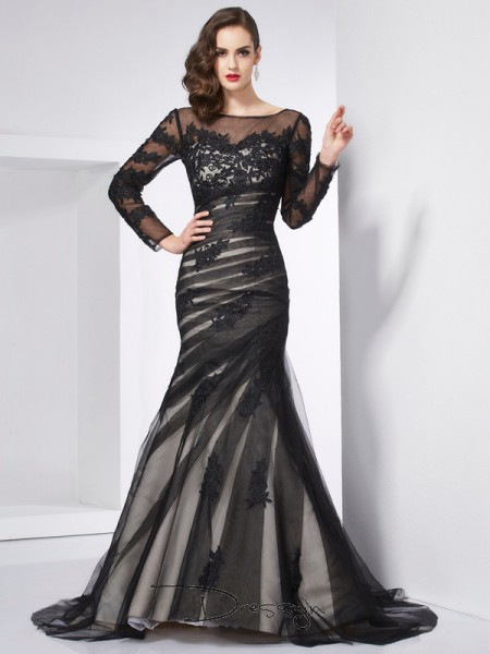 Trumpet/Mermaid Jewel Applique Long Sleeves Net Satin Long Dresses
