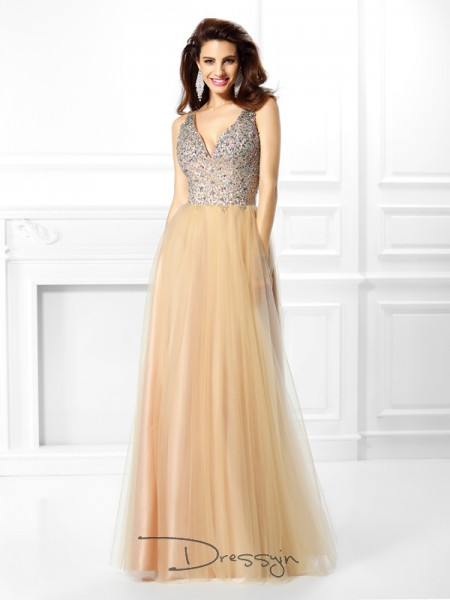 Ball Gown Sleeveless V-neck Sequin Satin Long Dresses