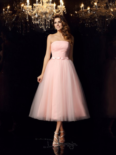 Ball Gown Sleeveless Strapless Belt Satin Tea-Length Dresses