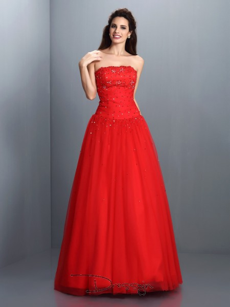 Ball Gown Sleeveless Strapless Beading Organza Long Dresses