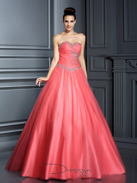 Ball Gown Sleeveless Sweetheart Beading Net Long Dresses