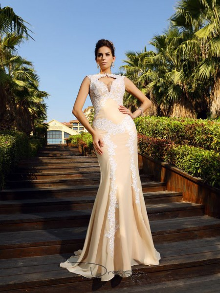 Sheath/Column Sleeveless High Neck Applique Chiffon Long Dresses