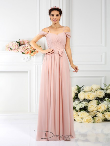 A-Line/Princess Sleeveless Spaghetti Straps Pleats Hand-Made Flower Chiffon Long Bridesmaid Dresses