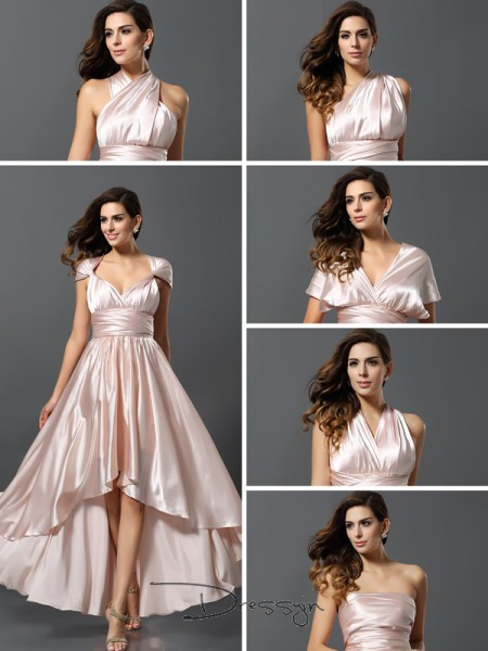 Sheath/Column Sleeveless Other Other Silk like Satin High Low Bridesmaid Dresses