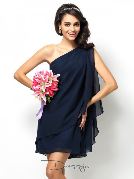 A-Line/Princess Sleeveless One-Shoulder Other Chiffon Short Bridesmaid Dresses