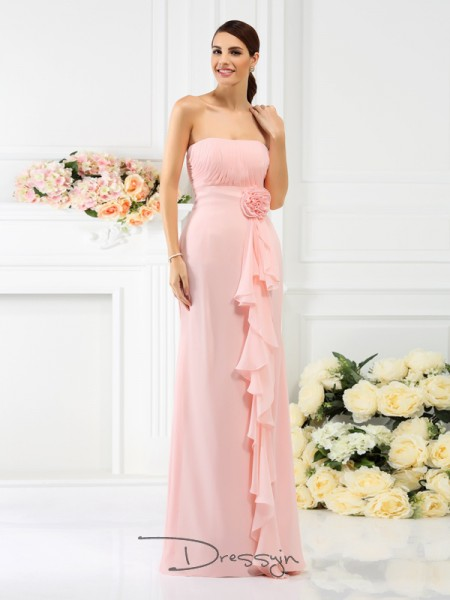 Sheath/Column Sleeveless Strapless Hand-Made Flower Chiffon Long Bridesmaid Dresses