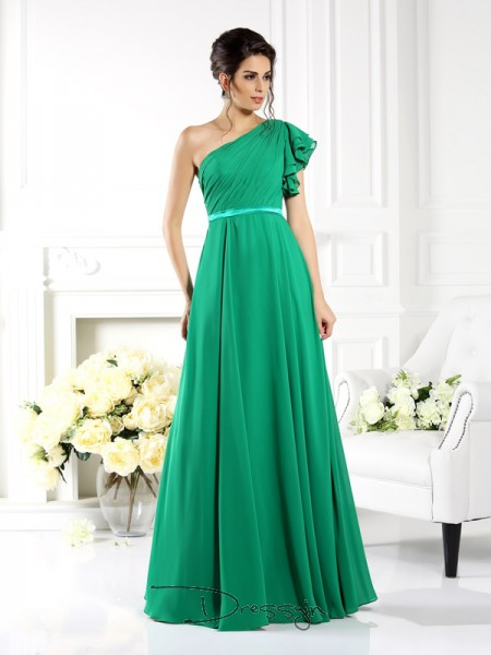 A-Line/Princess Sleeveless One-Shoulder Ruffles Chiffon Long Bridesmaid Dresses