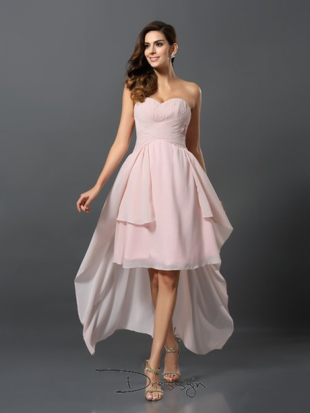 A-Line/Princess Sleeveless Sweetheart Pleats Chiffon High Low Bridesmaid Dresses