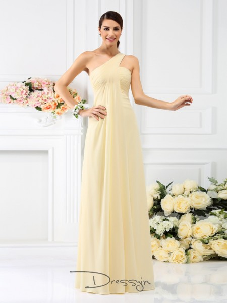 A-Line/Princess Sleeveless One-Shoulder Pleats Chiffon Long Bridesmaid Dresses