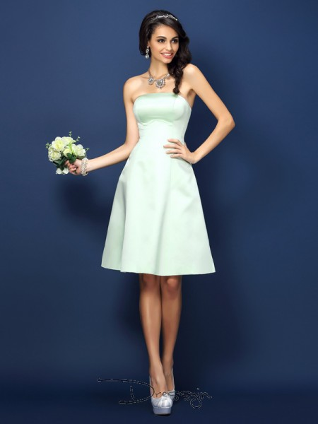 A-Line/Princess Sleeveless Strapless Other Satin Knee-Length Bridesmaid Dresses