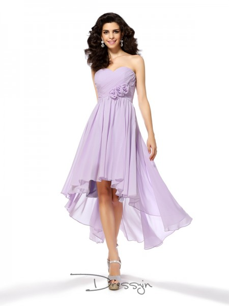 A-Line/Princess Sleeveless Sweetheart Hand-Made Flower Chiffon High Low Dresses