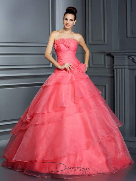 Ball Gown Sleeveless Strapless Hand-Made Flower Organza Long Dresses