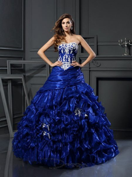 Ball Gown Sleeveless Sweetheart Beading Applique Tulle Long Dresses