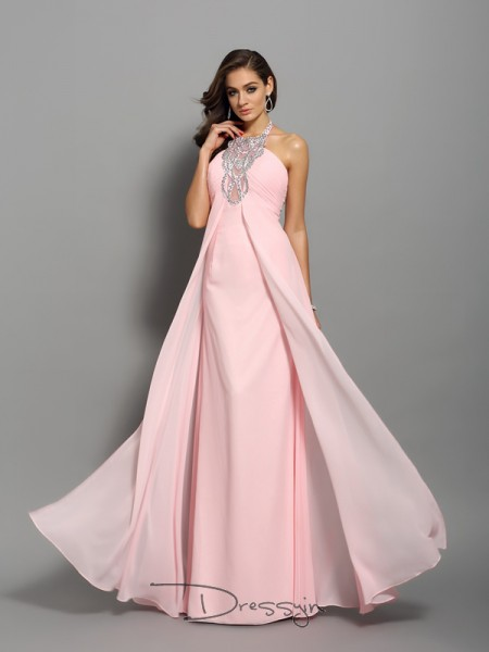 Sheath/Column Sleeveless High Neck Beading Chiffon Long Dresses