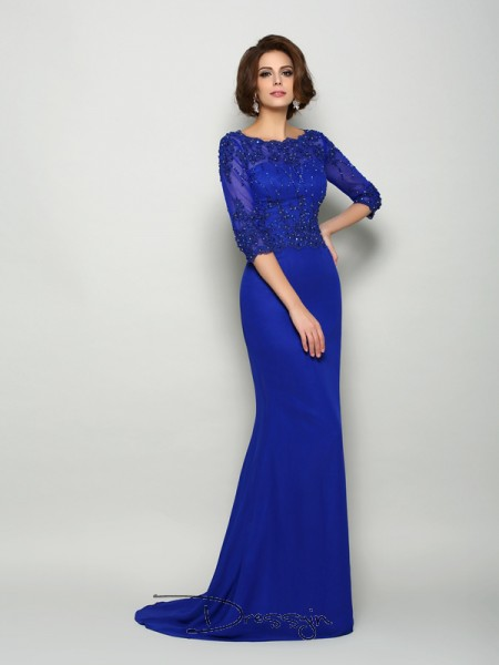 Trumpet/Mermaid 3/4 Sleeves Scoop Beading Applique Chiffon Long Mother of the Bride Dresses