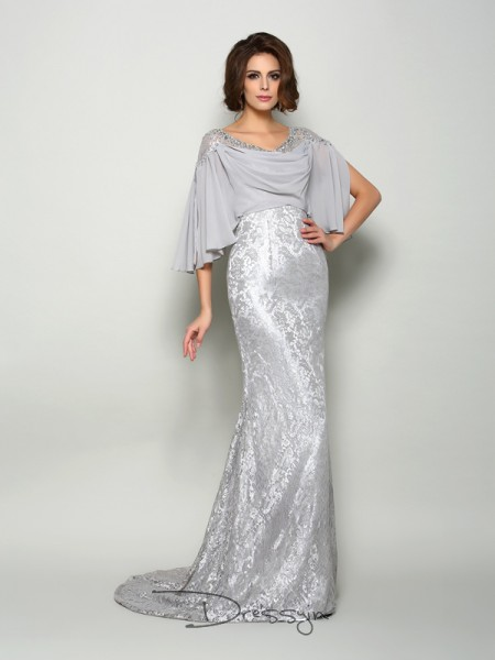 Trumpet/Mermaid 1/2 Sleeves Scoop Lace Chiffon Long Mother of the Bride Dresses