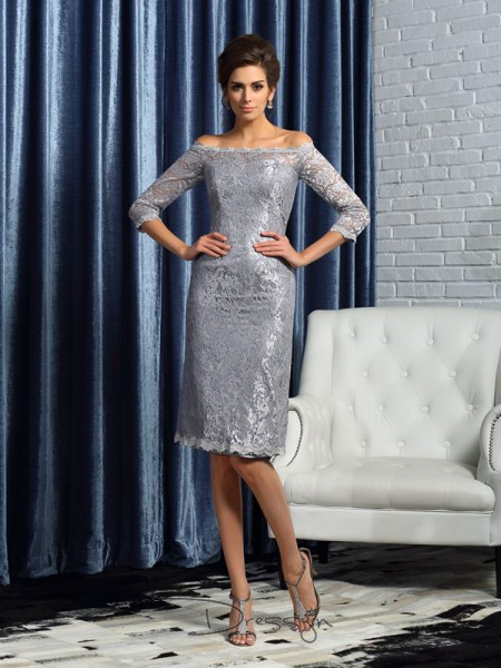 Sheath/Column 1/2 Sleeves Off-the-Shoulder Lace Satin Knee-Length Mother of the Bride Dresses