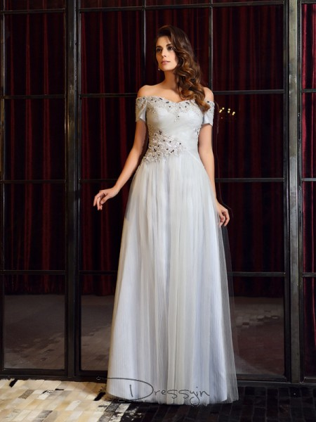 A-Line/Princess Sleeveless Off-the-Shoulder Beading Applique Net Long Dresses
