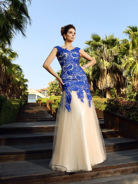 Sheath/Column Sleeveless V-neck Applique Net Long Dresses