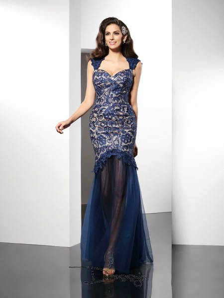 Trumpet/Mermaid Sleeveless Sweetheart Lace Net Long Dresses
