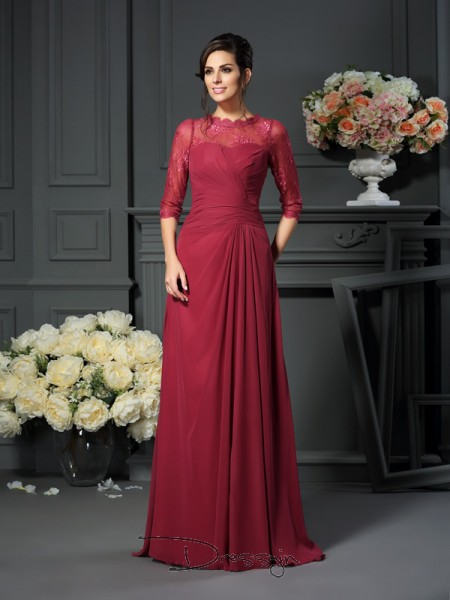 A-Line/Princess 1/2 Sleeves Scoop Applique Chiffon Long Mother of the Bride Dresses