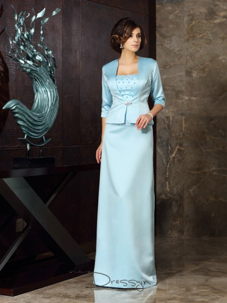 Sheath/Column Sleeveless Strapless Other Satin Long Mother of the Bride Dresses