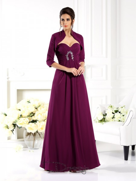 A-Line/Princess Sleeveless Sweetheart Beading Chiffon Long Mother of the Bride Dresses