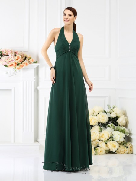 A-Line/Princess Sleeveless Halter Beading Chiffon Long Bridesmaid Dresses