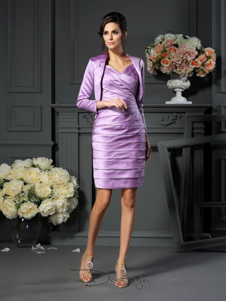 Sheath/Column Sleeveless Straps Ruched Satin Knee-Length Mother of the Bride Dresses
