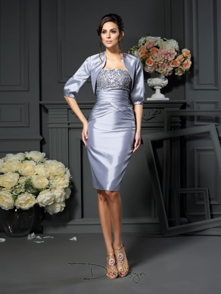 Sheath/Column Sleeveless Sweetheart Other Taffeta Knee-Length Mother of the Bride Dresses