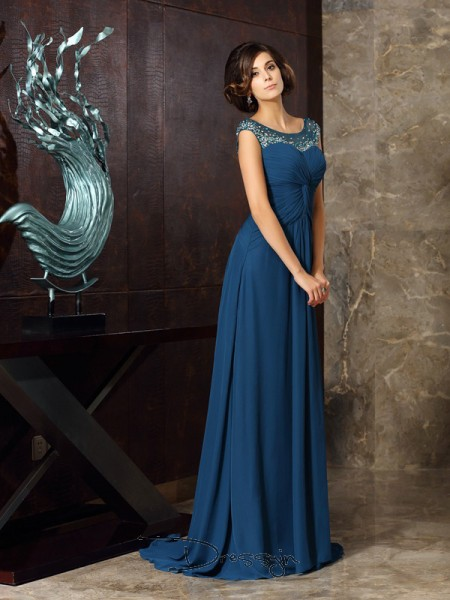 A-Line/Princess Sleeveless Scoop Beading Chiffon Long Mother of the Bride Dresses