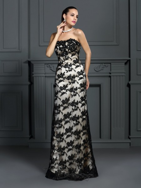 Sheath/Column Sleeveless Strapless Lace Elastic Woven Satin Long Dresses