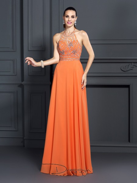 A-Line/Princess Sleeveless Scoop Beading Chiffon Long Dresses