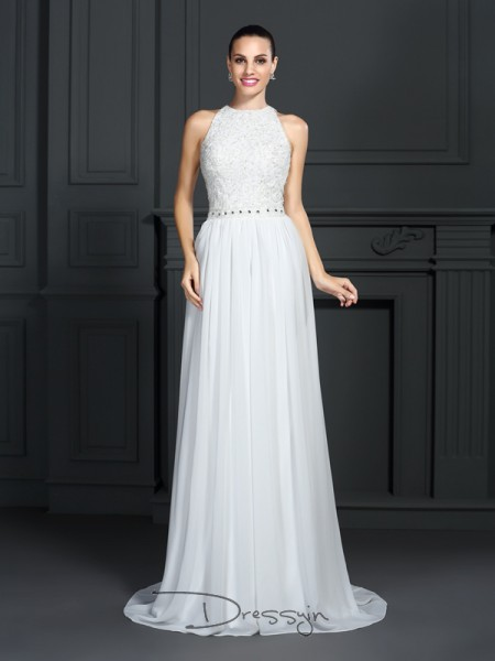 A-Line/Princess Chiffon High Neck Sleeveless Ruffles Long Dresses