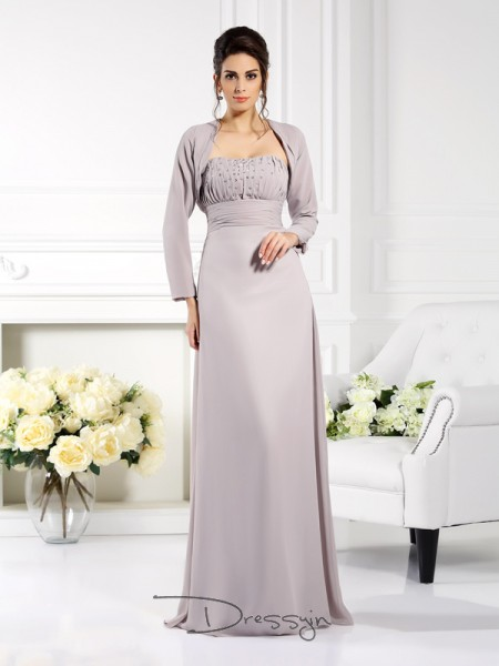 A-Line/Princess Chiffon Strapless Sleeveless Beading Long Mother of the Bride Dresses