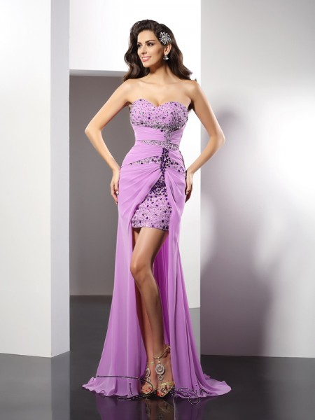 Sheath/Column Silk like Satin Sweetheart Sleeveless Beading Long Dresses