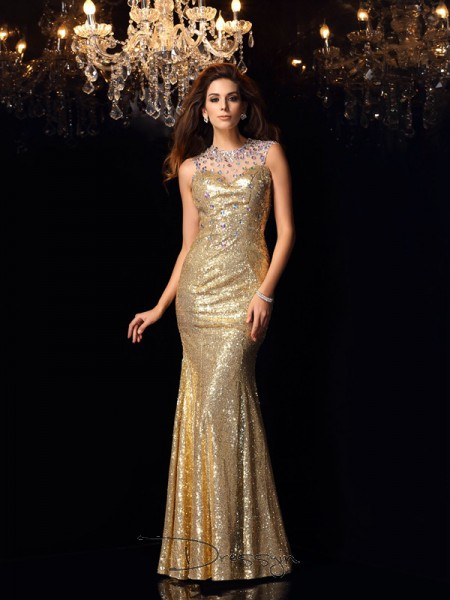 Trumpet/Mermaid Sequins High Neck Sleeveless Long Dresses