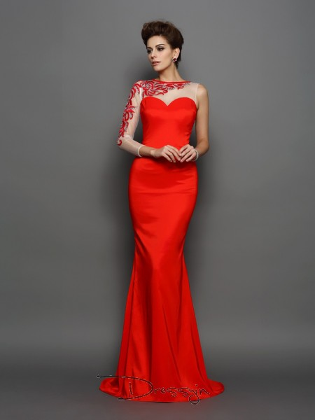 Trumpet/Mermaid Elastic Woven Satin High Neck Long Sleeves Embroidery Court Train Dresses