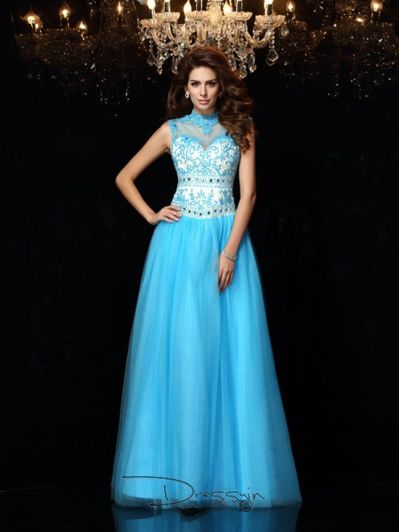 A-Line/Princess Satin High Neck Sleeveless Applique Long Dresses
