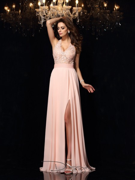 A-Line/Princess Chiffon Halter Sleeveless Lace Long Dresses