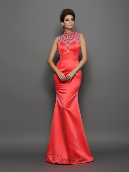 Trumpet/Mermaid Satin High Neck Sleeveless Beading Long Dresses
